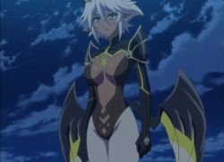 1girl breasts dark_skin highres large_breasts night screencap shinmai_maou_no_testament solo stitched wings zest