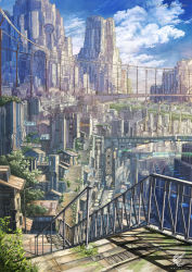 2015 artist_name bridge building city cityscape cloud cloudy_sky highres k_kanehira no_humans original plant railing scenery science_fiction sky skyscraper stairs