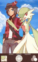 1boy black_hair gardevoir highres open_mouth pokemon pokemon_(game) pokemon_xy red_eyes sally_(yuki-menoko) smile sunglasses