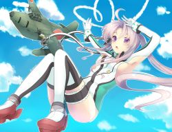 1girl airplane akitsushima_(kantai_collection) armpits arms_up breasts heart kantai_collection koruta_(nekoimo) lavender_hair looking nishikitaitei-chan open_mouth purple_eyes rudder_shoes sideboob solo