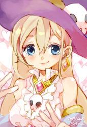 1girl artist_name blonde_hair blue_eyes blush dated earrings hat heart heart_background jewelry kanpani_girls necklace shina_(shiina_tsuushin) skull smirk upper_body witch_hat