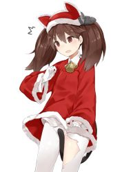 /\/\/\ 1girl akiha_(attract) animal_hat bell between_legs blush brown_eyes brown_hair cat_hat cat_tail cowboy_shot female flat_chest fur_trim gloves hat kantai_collection kskasutera long_hair open_mouth pantyhose ryuujou_(kantai_collection) santa_costume simple_background solo sweatdrop tail tail_between_legs tail_censor torn_clothes torn_pantyhose white_background white_gloves white_legwear