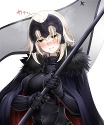 >:( 1girl ahoge bangs blush breasts cape closed_mouth embarrassed fate/grand_order fate_(series) faulds flag gauntlets headpiece highres holding jeanne_alter koro_(tyunnkoro0902) large_breasts looking_away nose_blush ruler_(fate/apocrypha) silver_hair solo sweat upper_body wavy_mouth yellow_eyes