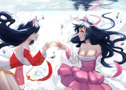 2girls ahri animal_ears bare_shoulders black_hair breasts bubble cleavage detached_sleeves dress facial_mark fox_ears fox_tail highres japanese_clothes kimono korean_clothes large_breasts league_of_legends long_hair multiple_girls ribbon short_kimono smile submerged tail underwater water whisker_markings whitehee93 yellow_eyes