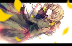 1girl blonde_hair blue_eyes dress flower green_dress ib long_hair lying mary_(ib) palette_knife petals revision rose shiyunoa yellow_rose