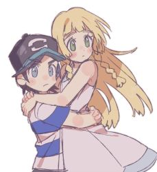 1boy 1girl black_hair blonde_hair blue_eyes blush couple green_eyes hat height_difference hug lillie_(pokemon) long_hair male_protagonist_(pokemon_sm) pokemon pokemon_(game) pokemon_sm short_hair striped_shirt