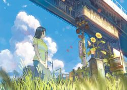 2girls blue_sky bridge chain-link_fence cloud copyright_request day denim fence flower from_below from_ground grass ground_vehicle highres jeans leaf leaning_back leaning_on_object multiple_girls outdoors pants plant railroad_crossing railroad_signal shirt sign sky smile solo solo_focus stairs standing sunflower teikoku_shounen train upper_body v_arms vines yellow_shirt