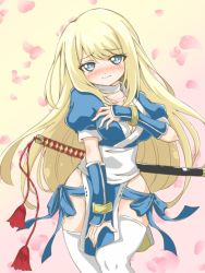 1girl bad_id blonde_hair blue_eyes blush breasts chloe_lemaire cleavage cosplay covering covering_breasts curvy dead_or_alive embarrassed girlfriend_(kari) japanese_clothes kasumi_(cosplay) kasumi_(doa) kasumi_(doa)_(cosplay) long_hair ninja pelvic_curtain seiyuu_connection solo spiritual_b90 sword tange_sakura thighhighs thighs weapon wide_hips