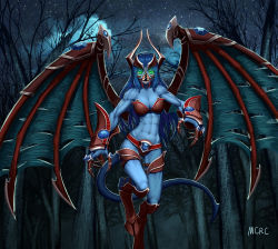 1girl abs armor artist_name blue_hair blue_skin claws creepy defense_of_the_ancients demon_girl demon_tail demon_wings dota_2 fangs forest gauntlets gem glowing glowing_eyes green_eyes highres hooves horns mcrc_science monster_girl muscle muscular_female nature night night_stalker_(dota) open_mouth revealing_clothes standing standing_on_one_leg star_(sky) tail torn_wings tree wings