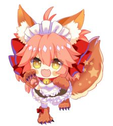 1girl :3 ahoge alternate_costume animal_ears apron bell bell_collar blush_stickers breasts caster_(fate/extra) chibi collar dress enmaided fangs fate/grand_order fate_(series) fox_ears fox_tail gx27 hair_ribbon long_hair looking_at_viewer maid maid_apron maid_headdress open_mouth paw_pose paws pink_hair ribbon simple_background solo star tail tamamo_cat_(fate/grand_order) thighhighs white_background white_legwear yellow_eyes