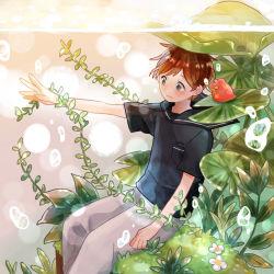 1boy brown_hair chitta frog male_focus original plant solo underwater