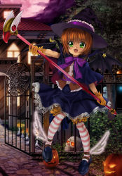 1girl :d absurdres black_hat black_skirt black_wings bow bowtie brown_hair card_captor_sakura demon_wings eyebrows_visible_through_hair fang full_moon gloves green_eyes halloween halloween_costume hat highres holding holding_staff kinomoto_sakura looking_at_viewer moon mutsuki_(moonknives) night open_mouth outdoors pantyhose pumpkin purple_bow short_hair shorts shorts_under_skirt skirt skull smile solo staff star striped striped_legwear wings witch_hat yellow_gloves yellow_shorts