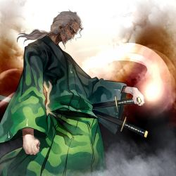 1boy clenched_hand hand_on_hilt japanese_clothes katana kimono konpaku_youki konpaku_youki_(ghost) long_hair looking_at_viewer low_ponytail old_man red_eyes sash scar silver_hair solo sword touhou uu_uu_zan weapon wide_sleeves yukata