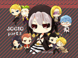 >_< absurdres artist_name aya_(421ura) black_gloves black_hair black_sclera blonde_hair blue_eyes blue_hair box chibi clenched_teeth coat curly_hair dated eyes_closed formaggio gelato ghiaccio glasses gloves green_hair grey_hair heart highres illuso jar jojo_no_kimyou_na_bouken legs_crossed mask melone one_eye_closed open_mouth orange_eyes orange_hair pants pesci prosciutto purple_eyes quin_tails red_eyes risotto_nero sitting smile sorbet striped striped_background striped_pants teeth