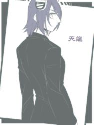 1girl formal from_behind headgear kantai_collection limited_palette looking_at_viewer looking_back necktie neko_majin short_hair sketch suit suit_jacket tenryuu_(kantai_collection) translation_request upper_body white_background