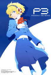 1girl absurdres aegis_(persona) blonde_hair blue_eyes gloves hair_over_one_eye headphones highres megami official_art persona persona_3 school_uniform solo