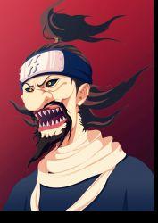 1boy akebino_jinin black_sclera face fangs headband male naruto ninja red_background