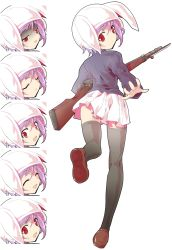 1girl ^_^ animal_hood ass bayonet black_legwear blazer bolt_action bunny_hood dairi expressions eyes_closed frown gun loafers nervous outstretched_arm red_eyes reisen rifle shoes short_hair skirt solo surprised sweatdrop thighhighs touhou turn_pale weapon