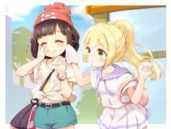 2girls :t ^_^ bag beanie belt black_hair blush eating eyebrows_visible_through_hair eyes_closed female_protagonist_(pokemon_sm) food green_eyes green_shorts hat lillie_(pokemon) long_hair midriff multiple_girls navel pokemon pokemon_(game) pokemon_sm ponytail pout ringo_(nanaprin) short_hair short_sleeves shorts skirt smile white_skirt