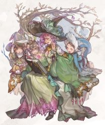 1boy 3girls :d agnesgd all_fours bangs black_hat blonde_hair blue_dress blue_eyes blue_hat blush book bow braid breasts brown_hair circlet cleavage colored_eyelashes diamond_(shape) dress eyes_closed fang flower freckles granblue_fantasy green_dress green_hat hand_on_headwear harbin hat leaf lennah leonora_(granblue_fantasy) long_sleeves multiple_girls norcel open_book open_mouth orange_eyes pointy_ears purple_hair reading short_hair sitting sleeves_past_wrists small_breasts smile souffleramahr tree twitter_username white_bow wide_sleeves wizard_hat