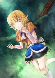 1girl arm_warmers black_shirt black_skirt blonde_hair blurry bridge brown_shirt commentary_request flower gradient_background green green_eyes hand_up leg_warmers light_particles looking_up mizuhashi_parsee open_hand pointy_ears sad scarf shirt short_hair skirt solo thighs tomoichi touhou