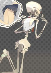 1girl amiami ass bottomless female glasses monster_girl necktie original skeleton skirt skull solo