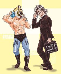 2boys abs black_hair briefcase curly_hair kenny_omega kyobashi long_hair looking_at_another mask multicolored_hair multiple_boys muscle new_japan_pro_wrestling silver_hair sunglasses tiger_mask tiger_mask_(series) tiger_mask_w two-tone_hair wrestling