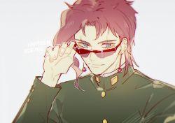 1boy adjusting_sunglasses gakuran green_eyes io_(sinking=carousel) jojo_no_kimyou_na_bouken kakyouin_noriaki looking_at_viewer male red_hair school_uniform solo sunglasses