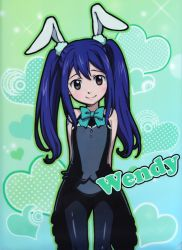 1girl blue_hair blush brown_eyes bunny bunny_suit fairy_tail female loli long_hair twintails wendy_marvell