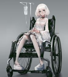 1girl absurdres dress flower grey_background hair_flower hair_ornament highres intravenous_drip knees_together_feet_apart long_sleeves original pantyhose pigeon-toed rose shoes silver_eyes sitting solo swav wheelchair white_dress white_hair white_legwear white_rose white_shoes wide_sleeves