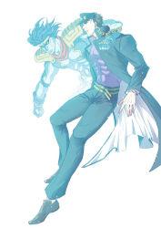 2boys blue chains gakuran hat jojo_no_kimyou_na_bouken kuujou_joutarou long_coat multiple_boys nanasan school_uniform stand_(jojo) star_platinum