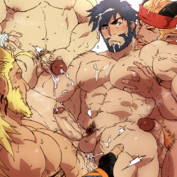 abs anal bara beard character_request copyright_request cum cum_on_body cum_while_penetrated facial facial_hair gangbang groping group_sex hana_(artist) handjob horns licking lifting muscle nipples nude orgy pecs penis_grab pointy_ears sex tongue tongue_out yaoi