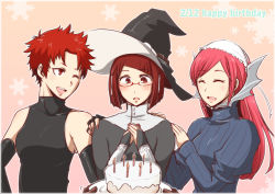 3girls birthday_cake blush cake detached_sleeves fire_emblem fire_emblem:_kakusei food glasses hat miriel_(fire_emblem) multiple_girls red_hair serge_(fire_emblem) short_hair shougayaki_(kabayaki_3) soiree sweater witch_hat
