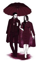 1boy 1girl alternate_costume boa_hancock dracule_mihawk lining necklace one_piece shichibukai umbrella