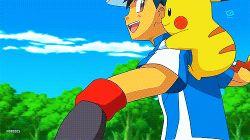 1boy animated animated_gif bellsprout pikachu poke_ball pokemon pokemon_(anime) satoshi_(pokemon)
