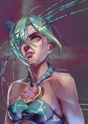 1girl absurdres blue_eyes double_bun green_hair hair_over_one_eye highres jojo_no_kimyou_na_bouken kagaya_(pixiv) kuujou_jolyne lips solo