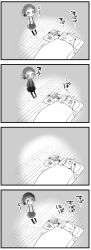 4koma absurdres ahoge airplane arare_(kantai_collection) comic eyes_closed futon highres horns kantai_collection kneehighs mittens monochrome northern_ocean_hime nukosama pleated_skirt school_uniform shinkaisei-kan short_sleeves skirt sleeping suspenders translation_request under_covers