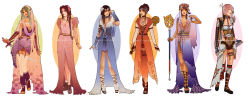 6+girls adapted_costume aerith_gainsborough breasts brown_hair cape cleavage dress final_fantasy final_fantasy_ix final_fantasy_vi final_fantasy_vii final_fantasy_viii final_fantasy_x final_fantasy_xiii garnet_til_alexandros_xvii green_hair hannah_alexander lightning_farron looking_at_viewer multiple_girls pink_hair rinoa_heartilly square_enix staff sword tiara tina_branford yuna