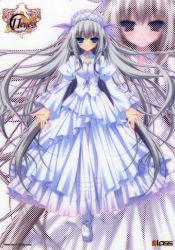 11eyes 1girl absurdres blue_eyes chikotam dress grey_hair halftone headdress highres lisette_vertorre lolita_fashion long_hair mary_janes official_art scan shoes silver_hair solo very_long_hair white_dress zoom_layer