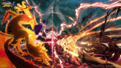 aura battle beam claws destruction epic explosion fangs gyuuki_(naruto) highres horns juubi kurama_(naruto) monster multiple_tails naruto naruto_shippuuden night_sky no_humans official_art single_eye spikes tentacle