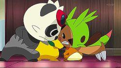 angry animated animated_gif chespin dedenne no_humans pancham pikachu pokemon pokemon_(anime)