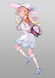 1girl bag bangs blonde_hair blue_ribbon blue_shoes blunt_bangs braid collared_dress dress duffel_bag ege_(597100016) from_side full_body green_eyes hat hat_ribbon highres holding holding_poke_ball kneehighs leg_up lillie_(pokemon) long_hair poke_ball poke_ball_theme pokemon pokemon_(game) pokemon_sm ribbon see-through shoes simple_background sleeveless sleeveless_dress solo sun_hat sundress sweat twin_braids white_dress white_hat white_legwear