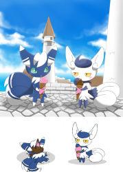 1boy 1girl fur ice_cream meowstic nintendo no_humans pokemon pokemon_xy winick-lim