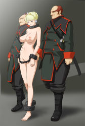 1girl 2boys ankle_cuffs ass ass_grab bald bangs barefoot bdsm blonde_hair blue_eyes bondage boots bound braid breasts clothed_male_nude_female collar convenient_censoring cuffs earrings french_braid full_body groping jewelry large_breasts makochin manacles military military_uniform multiple_boys navel nipples nude original pointy_ears princess prisoner queen red_hair shackles short_hair sword tagme tiara uniform weapon