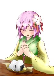 1girl bangs bloom blunt_bangs colored_eyelashes eyebrows_visible_through_hair eyes_closed flower food hair_flower hair_ornament hands_together hieda_no_akyuu highres hiroshi_12 japanese_clothes kimono lips obi onigiri purple_hair sash simple_background solo table touhou white_background wrapper