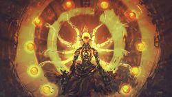 1boy 2016 anatofinnstark aura commentary energy extra_arms floating glowing humanoid_robot indian_style male_focus md5_mismatch meditation monk orb overwatch pants resized signature sitting solo torn_clothes torn_pants upscaled zenyatta_(overwatch)