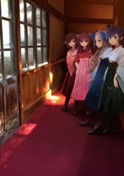 2017 4girls anchor annin_musou architecture asakaze_(kantai_collection) black_hair black_hakama blonde_hair blue_eyes blue_hakama boots bow brown_eyes brown_hair carpet commentary_request dated drill_hair east_asian_architecture green_eyes hair_bow hakama hand_on_hip harukaze_(kantai_collection) hat japanese_clothes kamikaze_(kantai_collection) kantai_collection kimono lineup long_hair long_sleeves looking_at_viewer matsukaze_(kantai_collection) meiji_schoolgirl_uniform mini_hat multiple_girls parted_lips pink_hakama pink_kimono purple_eyes purple_hair red_hakama school_uniform shadow short_hair sidelocks sliding_doors smile snow sunlight white_kimono wide_sleeves