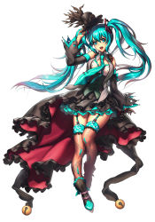 1girl aqua_eyes aqua_hair detached_sleeves garter_straps hat hatsune_miku long_hair looking_at_viewer metto necktie open_mouth simple_background skirt solo thighhighs twintails vocaloid white_background