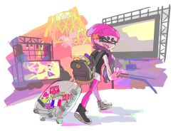 1girl alternate_costume ankle_boots aori_(splatoon) backpack bag beanie black_hair boots denchinamazu domino_mask fangs hat highres mask monitor official_art pantyhose pointy_ears pokemon shirt shorts smile splatoon sticker stuffed_toy suitcase sunset t-shirt tentacle_hair transformers walking