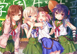 4girls :d ;o ^_^ animal_hat armpits black_legwear blue_eyes blush brown_eyes brown_hair cardigan cat_hat chalkboard ebisuzawa_kurumi eyes_closed fingerless_gloves folded_hair gakkou_gurashi! gloves grin hair_ornament hair_ribbon hair_tucking hairclip hat hug long_hair long_sleeves mole mole_under_eye multiple_girls naoki_miki one_eye_closed open_cardigan open_clothes open_mouth pink_hair purple_eyes purple_hair red_ribbon ribbon school_uniform short_hair short_sleeves shovel smile striped striped_gloves takeya_yuki thighhighs toosaka_asagi twintails wakasa_yuuri worktool